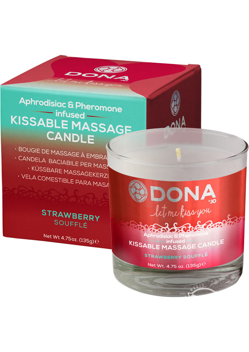 Dona Aphrodisiac And Pheromone Infused Kissable Massage Candle Strawberry Souffle 4.75 Ounce
