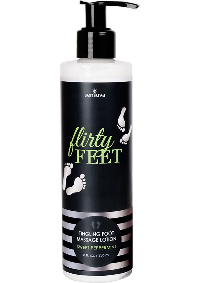 Flirty Feet Tingling Foot Massage Lotion Sweet Peppermint 8 Ounce