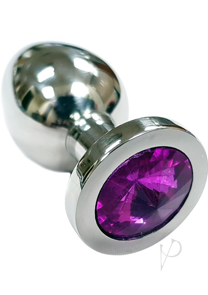 Rouge Jewelled Anal Butt Plug Small Stainless Steel Dark Pink Jewel